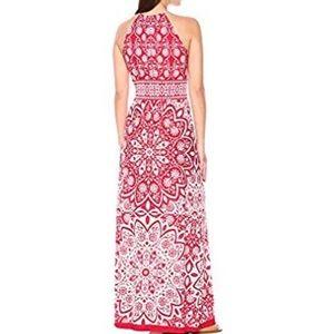London Times Dresses - London Times Keyhole Halter Inset Waist Red Maxi